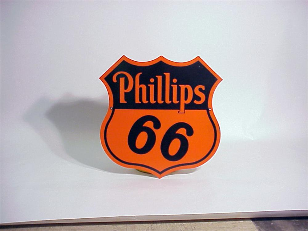 1950s Phillips 66 double-sided porcelain station sign. - Front 3/4 - 50266