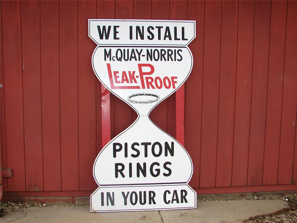 Large 1940s McQuay-Norris piston rings die-cut tin station sigh with wood framing. - Front 3/4 - 50268