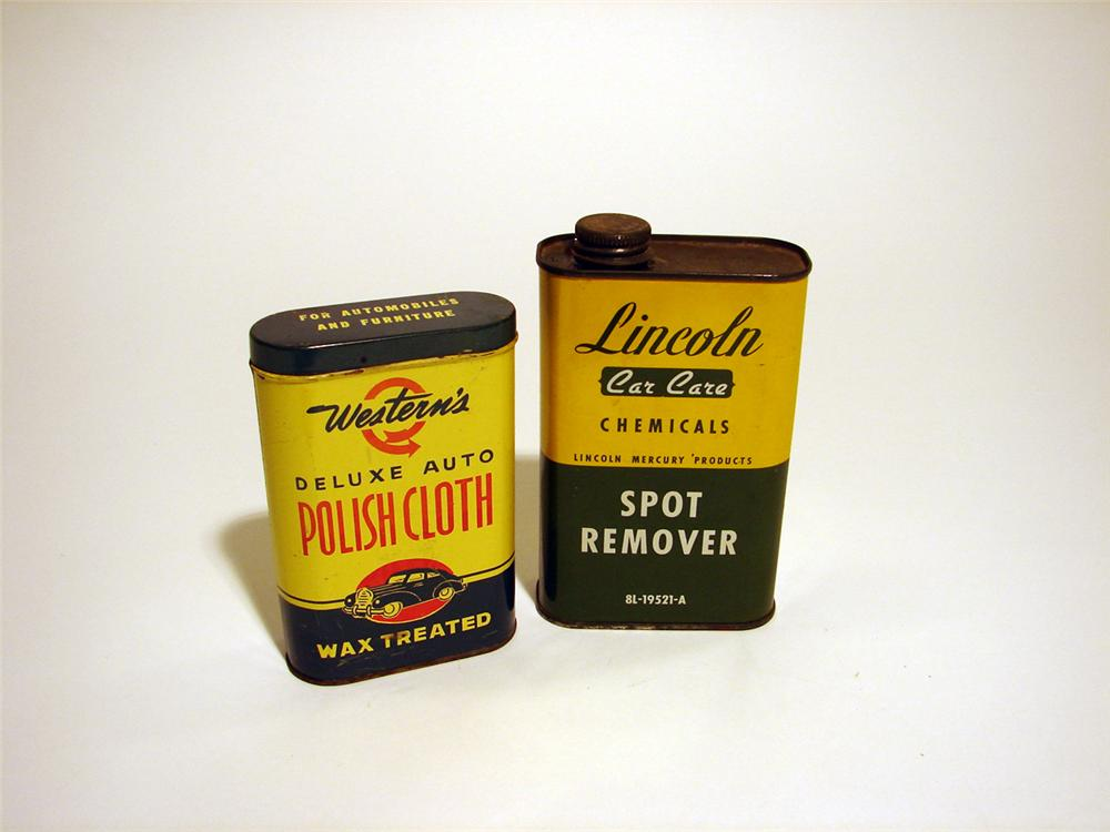 "Lot of two 1950s car care tins ""Lincoln Spot Remover"" and ""Western Polishing Cloth"". - Front 3/4 - 50271"