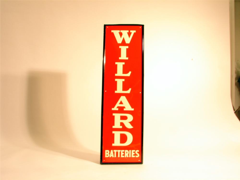 N.O.S. 1949 Willard Batteries single-sided tin garage sign. - Front 3/4 - 50274
