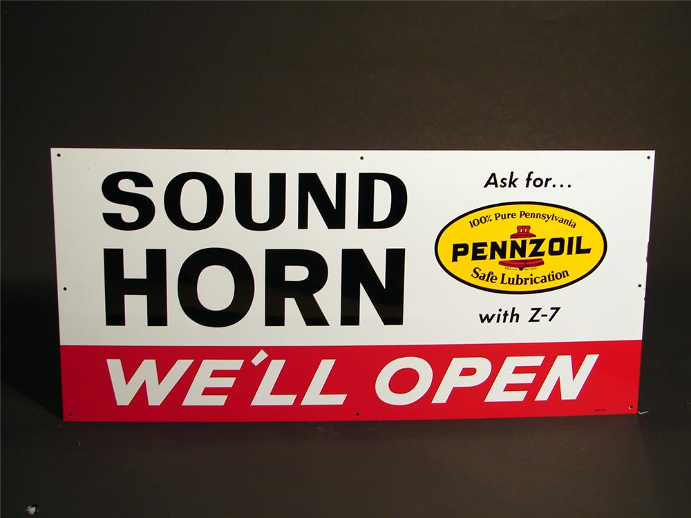 "N.O.S. 1965 Pennzoil Motor Oil ""Sound Horn"" single-sided tin garage sign. - Front 3/4 - 50275"