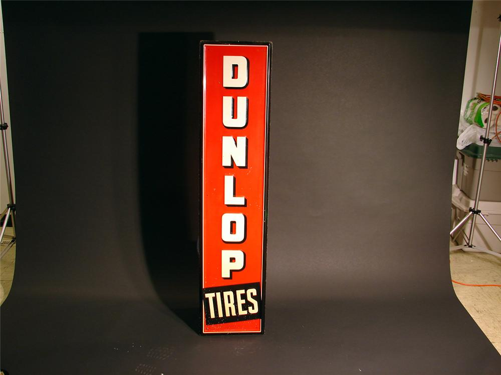 1940s Dunlop Tires vertical tin painted garage sign. - Front 3/4 - 50276
