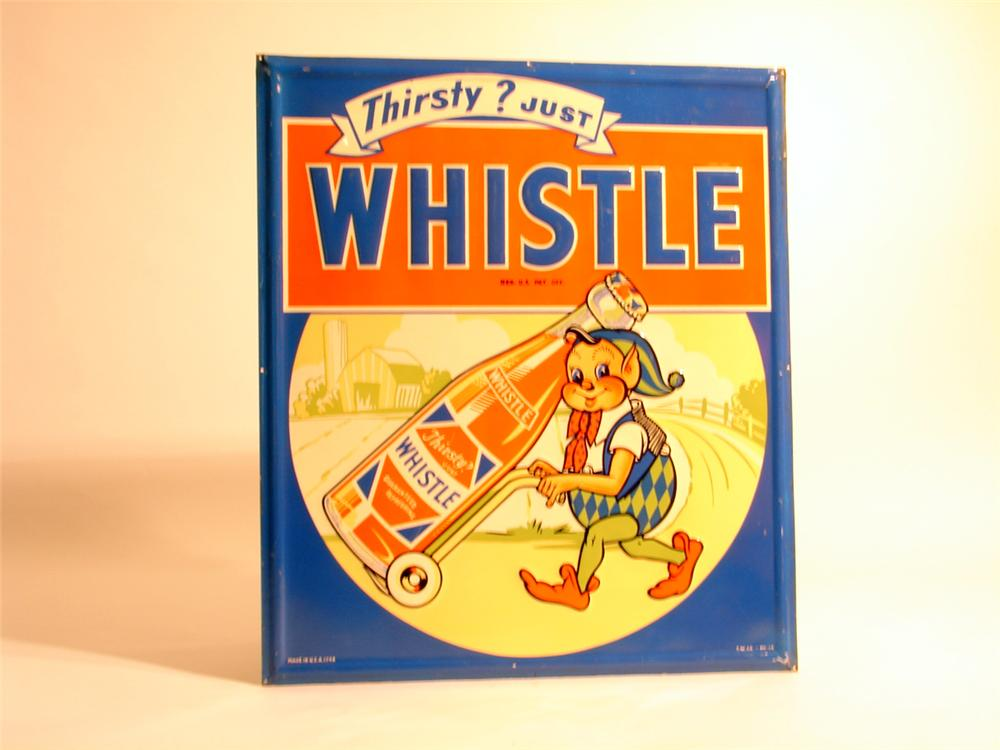 Scarce N.O.S. 1948 Whistle Orange Soda embossed tin sign with elf graphic. - Front 3/4 - 50278