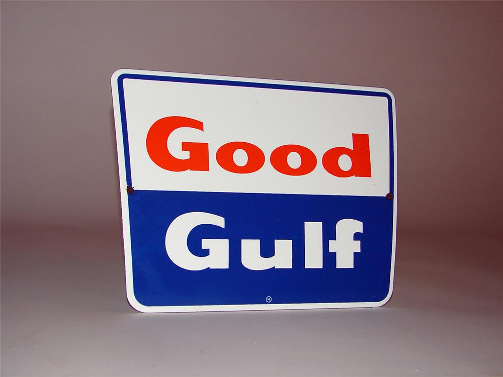 N.O.S. 1960s Good Gulf Gasoline porcelain pump plate sign. - Front 3/4 - 50281