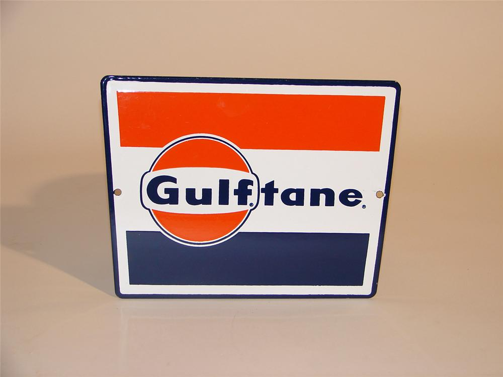 N.O.S. 1960s Gulftane porcelain pump plate sign with logo. - Front 3/4 - 50282