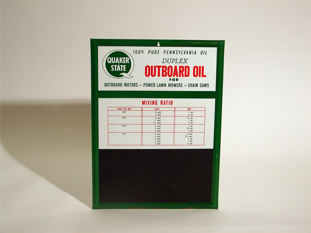 N.O.S. 1960s Quaker State Outboard Motor Oil single-sided price board tin sign. - Front 3/4 - 50341
