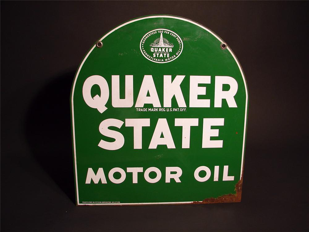 Quaker State Motor Oil double-sided tin garage sign. - Front 3/4 - 50342