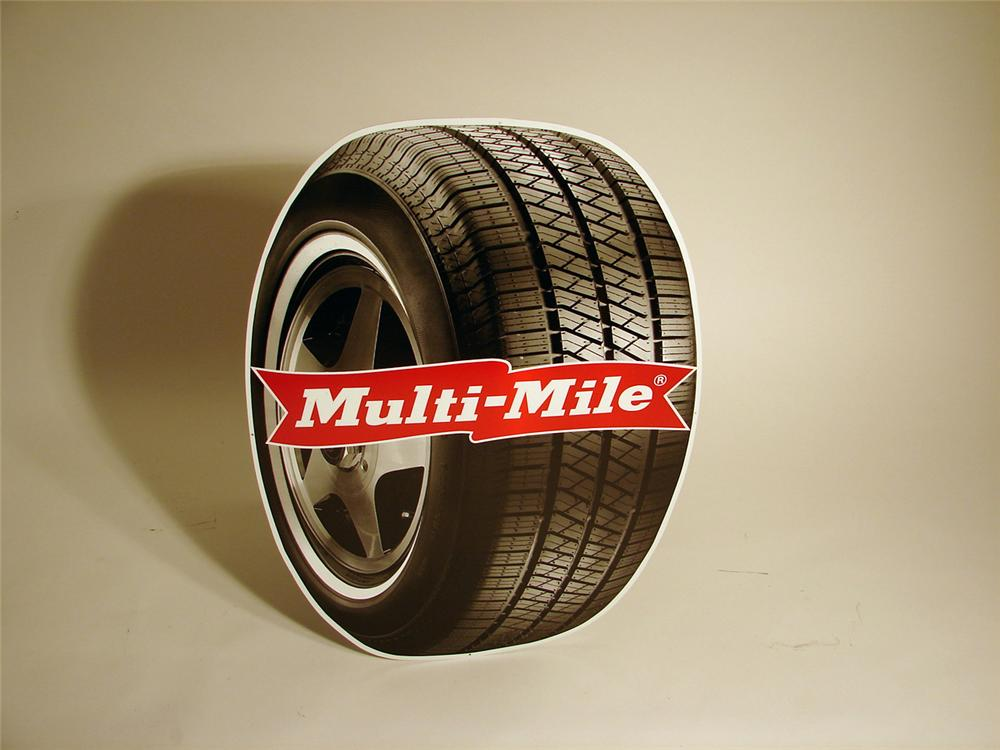 N.O.S. Multi-Mile Tires single-sided tin painted garage sign. - Front 3/4 - 50344