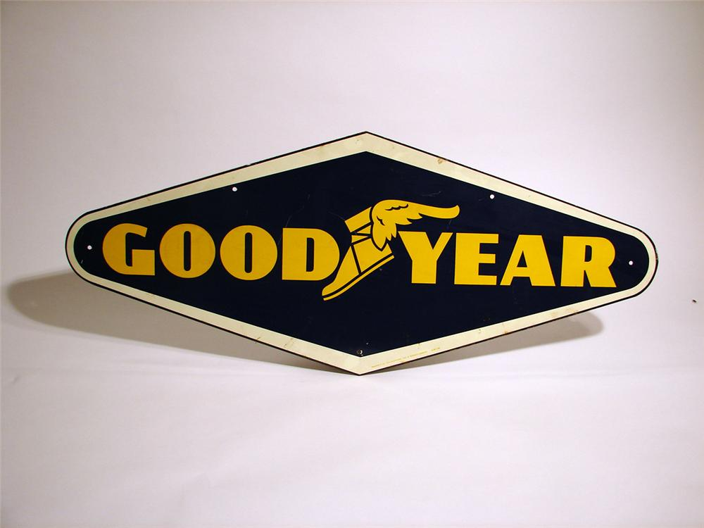 Impressive 1950s Goodyear Tires single-sided tin garage sign. - Front 3/4 - 50350