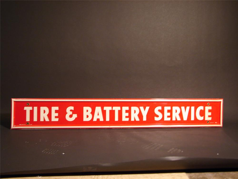 """N.O.S. 1960s Firestone """"Tire and Battery Service"""" single-sided tin garage sign. - Front 3/4 - 50351"""