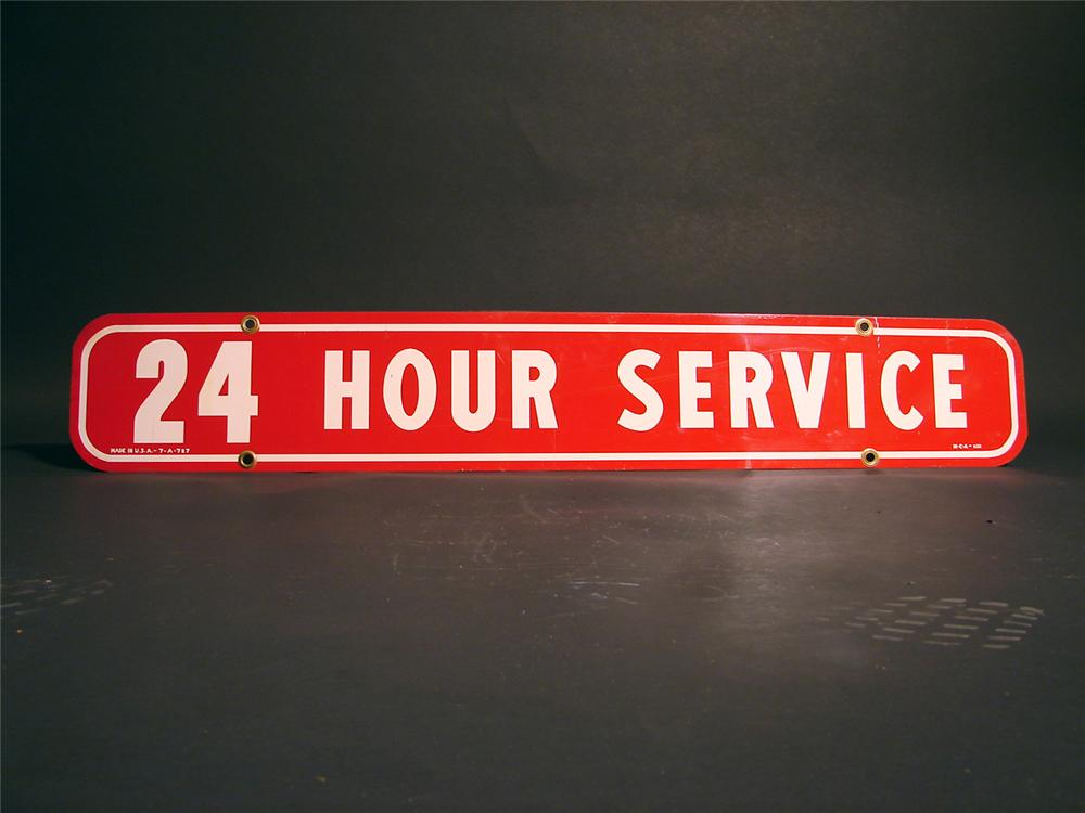 "1960s Firestone ""24 Hour Service"" tin painted garage sign. - Front 3/4 - 50352"