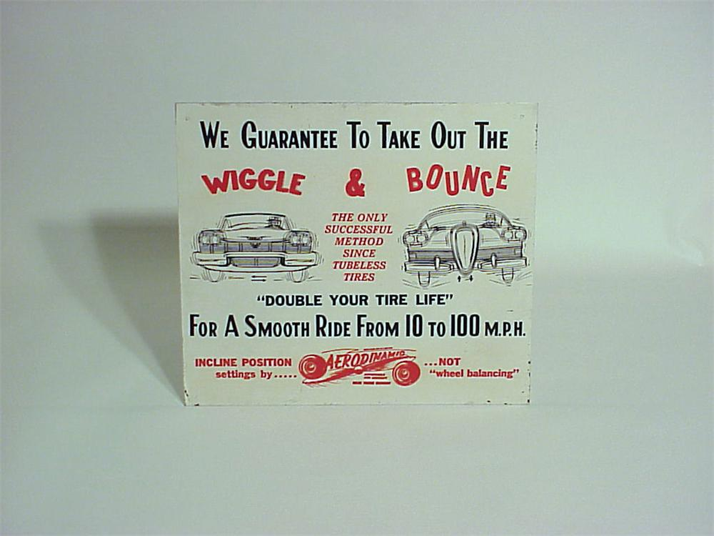 1950s Aerodinamic Suspension Adjustmentsingle-sided tin garage sign. - Front 3/4 - 50355