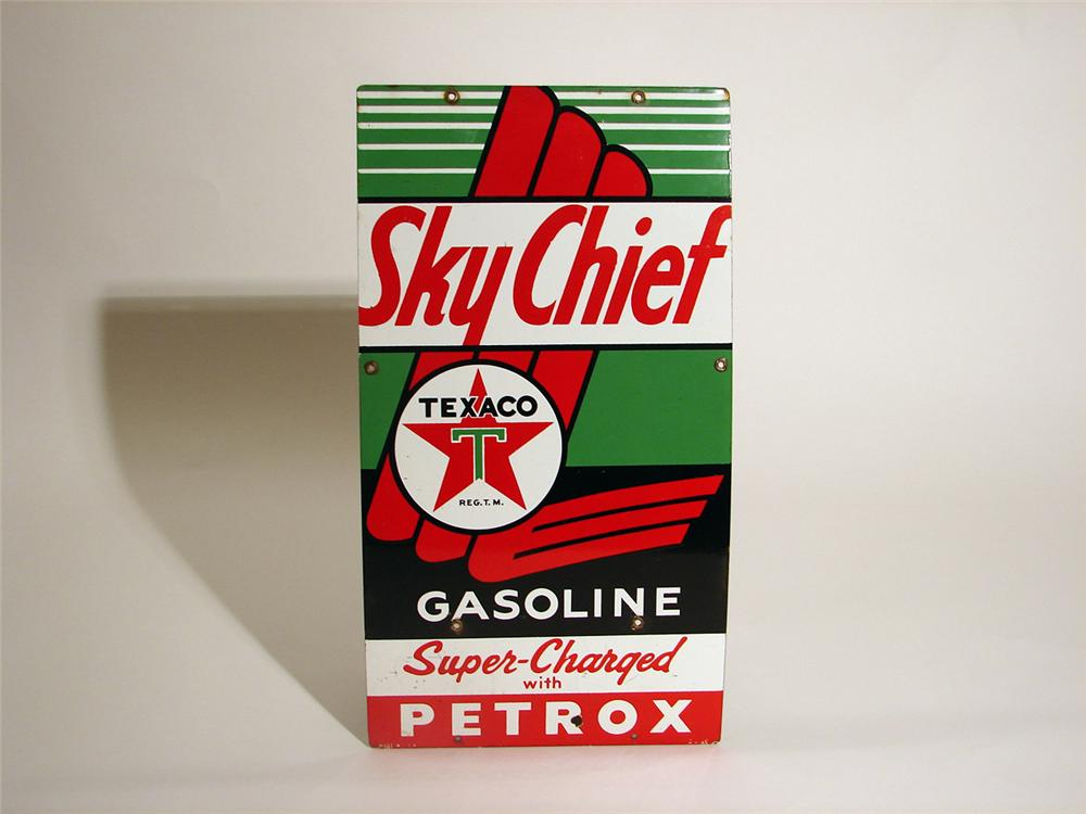 Choice 1956 Texaco Sky Chief with Petrox over-sized porcelain pump plate sign. - Front 3/4 - 50356