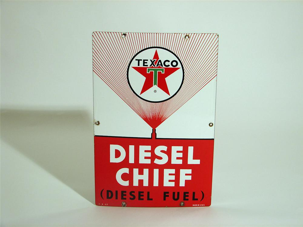 Scarce 1962 Texaco Diesel Chief porcelain pump plate sign. - Front 3/4 - 50359