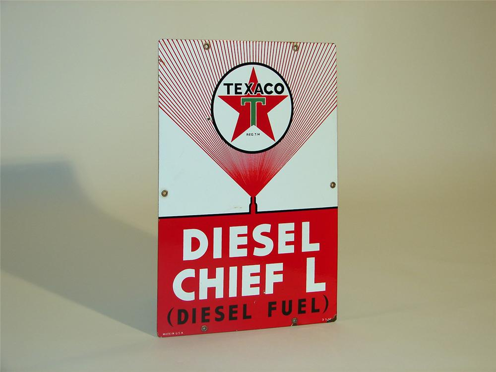"Hard to find 1955 Texaco Diesel Chief ""L"" porcelain pump plate sign. - Front 3/4 - 50360"