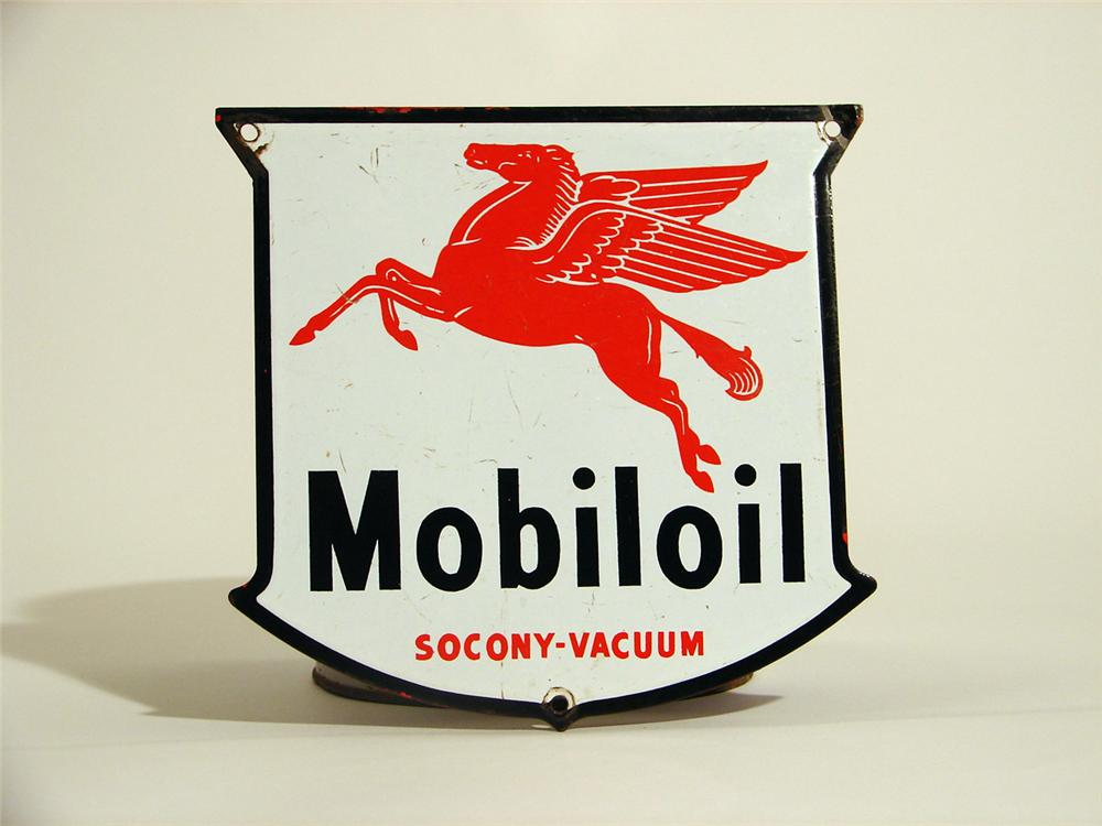 1940s Mobiloil single-sided porcelain shield shaped sign. - Front 3/4 - 50362