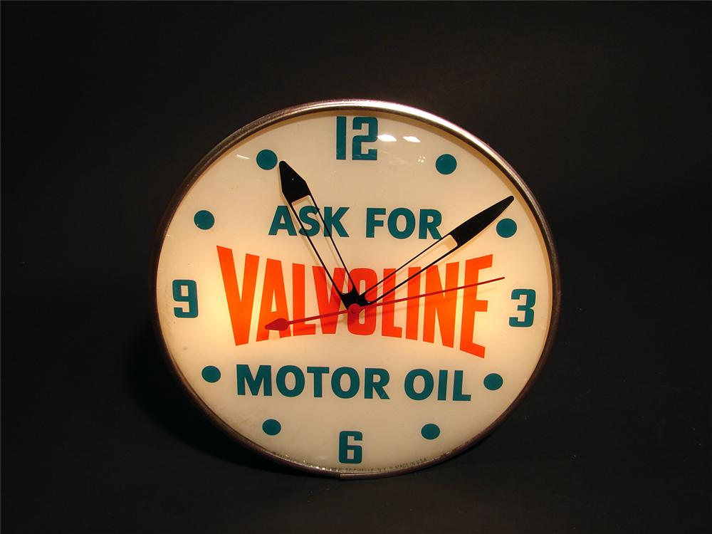 1950s Valvoline Motor Oil light-up station clock. - Front 3/4 - 50365