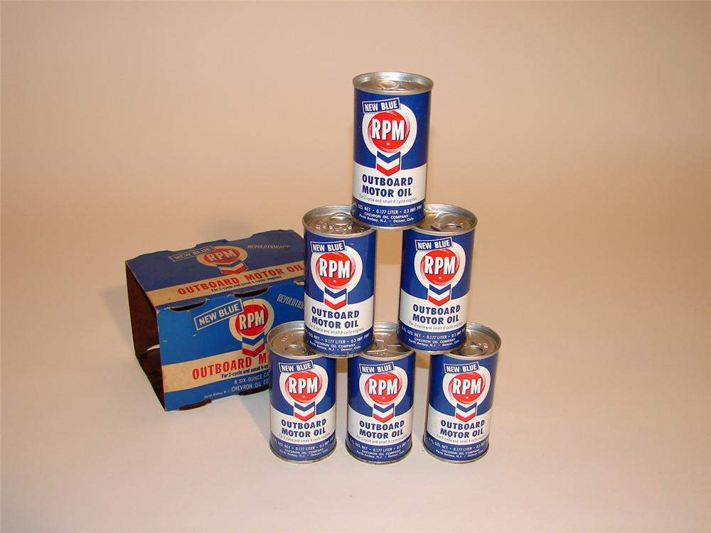 Set of six N.O.S. RPM Outboard motor oil six ounce tins complete with original cardboard sleeve. - Front 3/4 - 50367