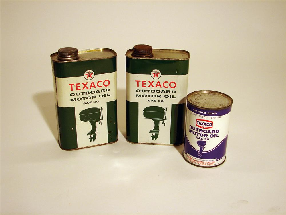 Lot of two 1950s Texaco Outboard Motor Oil quarts and one late 60s pint. - Front 3/4 - 50369