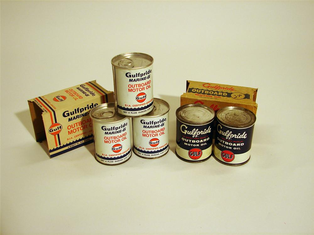 Lot of five N.O.S. Gulfpride Outboard motor oil 1/2 pint tins. - Front 3/4 - 50370