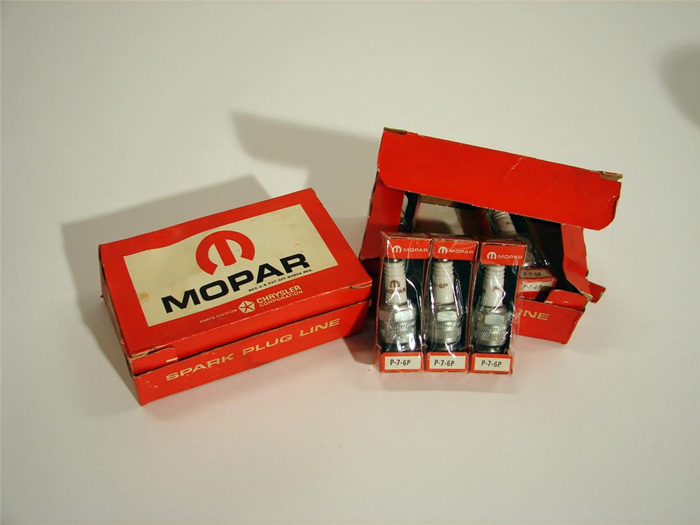 Lot of two N.O.S. Mopar Spark Plug boxes.  Still full and unused. - Front 3/4 - 50372