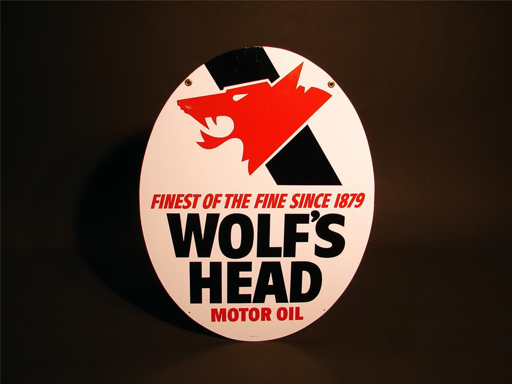 Wolfs Head Motor Oil double-sided tin garage sign. - Front 3/4 - 50388