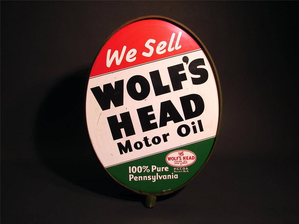 Late 50s Wolfs Head Motor Oil double-sided tin sign in original bracket. - Front 3/4 - 50389