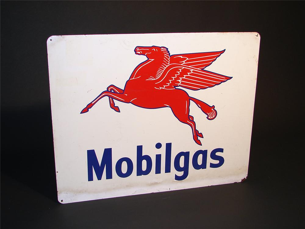 Unusual 1940s Mobilgas single-sided tin station sign with Pegasus graphic. - Front 3/4 - 50394