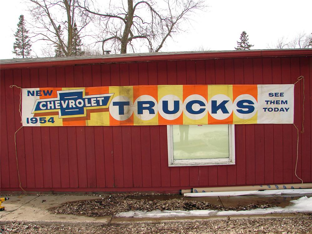 Large 1954 Chevrolet Trucks dealership banner. - Front 3/4 - 50395