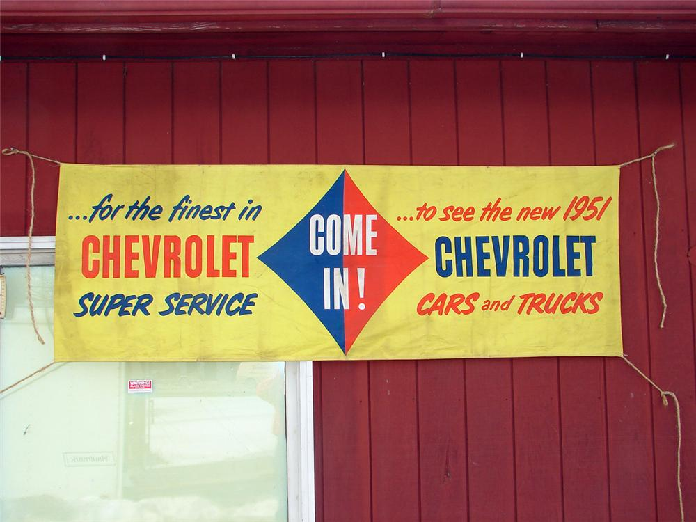 "1951 Chevrolet ""Come In and See"" dealership banner. - Front 3/4 - 50397"