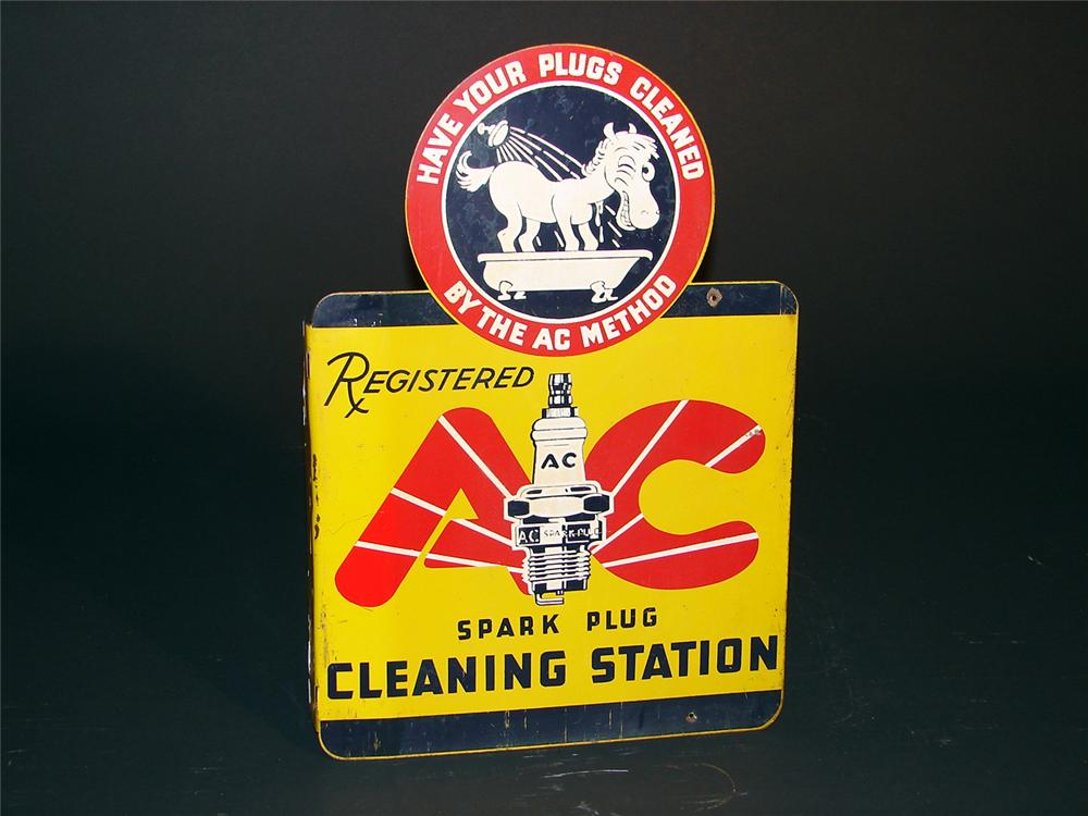 "Late 30s AC Spark Plugs ""Cleaning Station"" tin painted garage flange sign. - Front 3/4 - 50404"