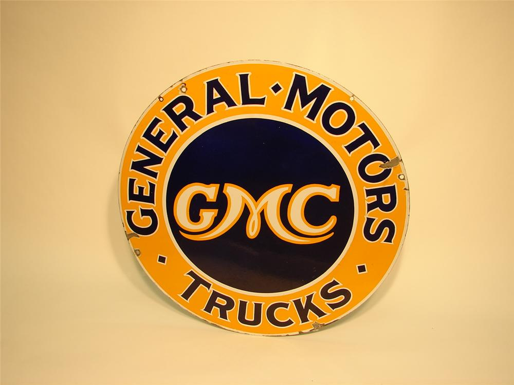 Sharp 1930s GMC Trucks double-sided porcelain dealership sign.  Colors and gloss are still factory fresh. - Front 3/4 - 50405