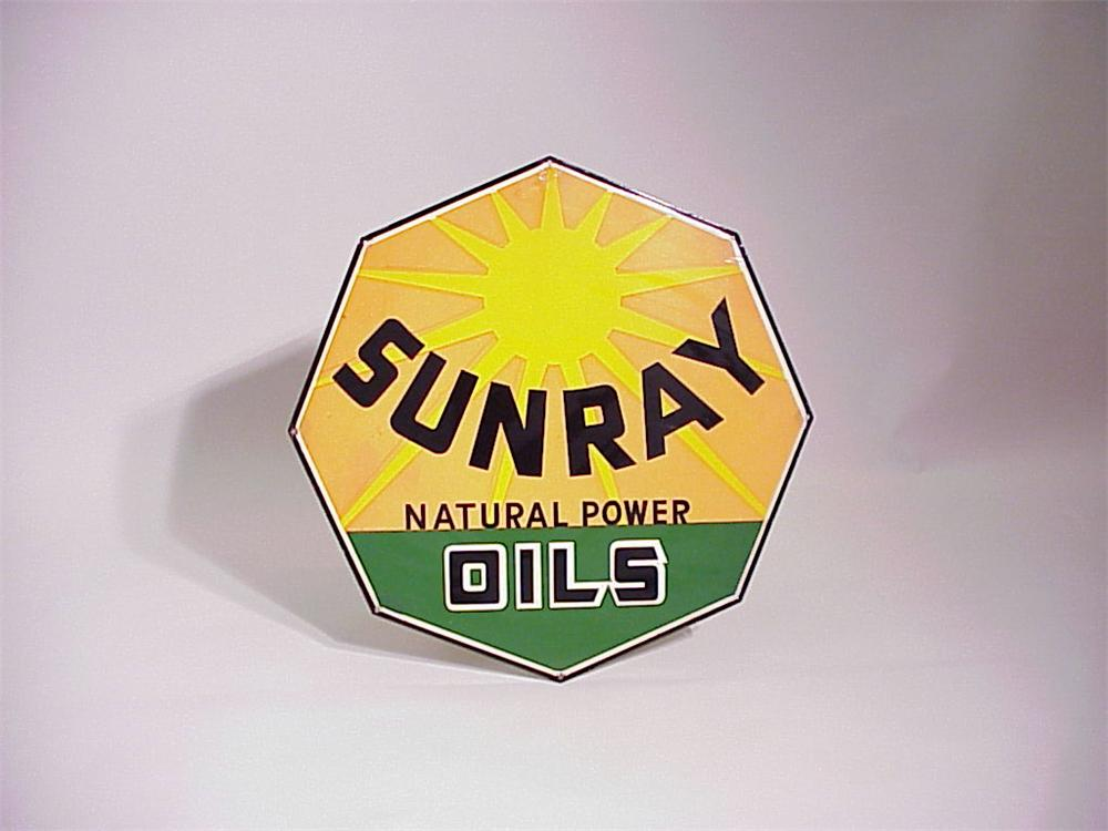 Scarce 1940s Sunray Diamond DX Oils single-sided porcelain station sign. - Front 3/4 - 50406