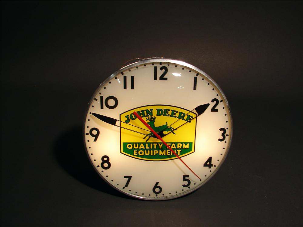 Very hard to find 1950s John Deere Farm Equipment light-up dealership clock.  Manufactured by Telechron clock company. - Front 3/4 - 50410