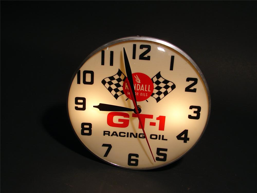 1960s Kendall GT-1 Racing Oil light-up station clock. - Front 3/4 - 50411