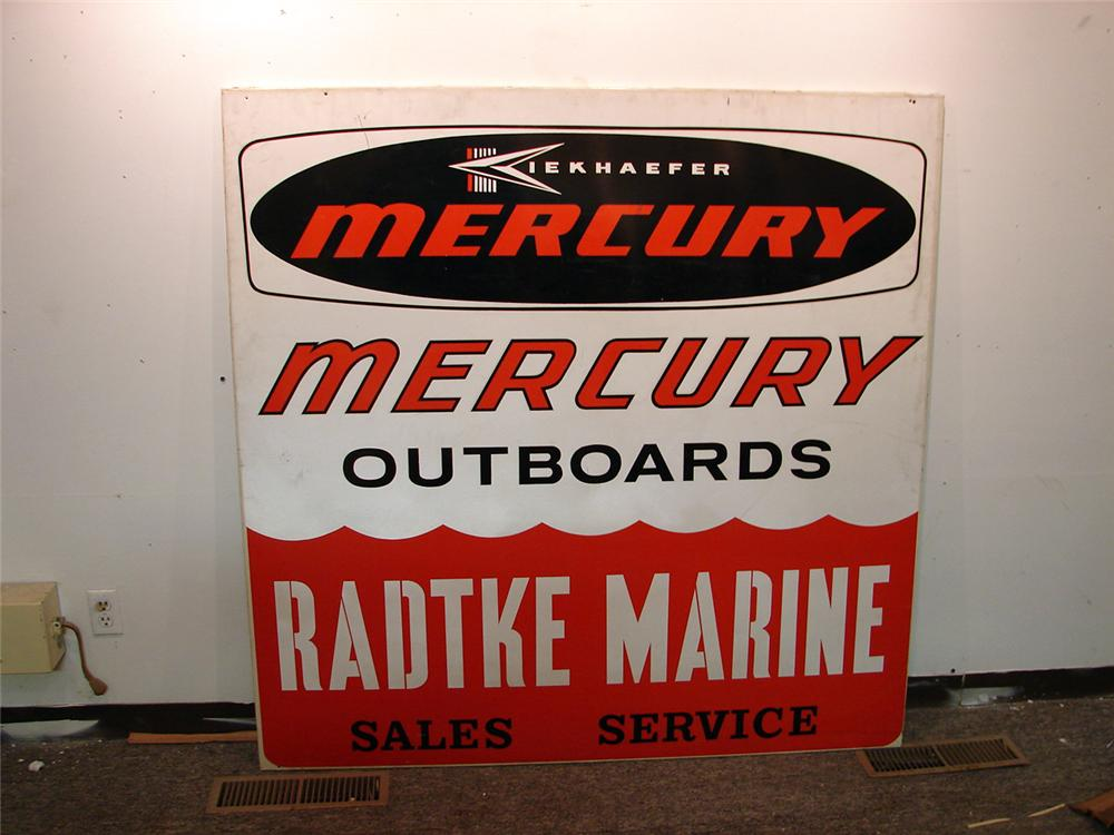 Large vintage Kiekhaefer Mercury Outboards single-sided tin marine dealership sign. - Front 3/4 - 50415