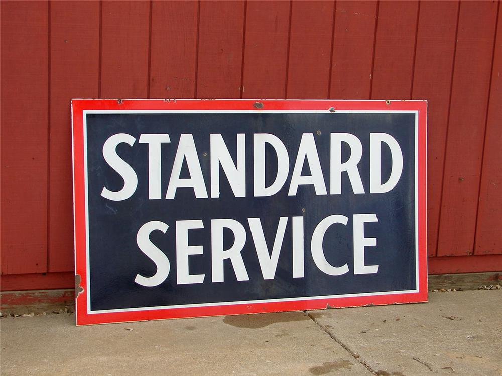 1930s Standard Service double-sided porcelain service station sign. - Front 3/4 - 50418