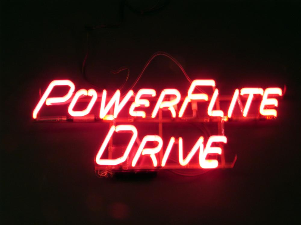 "1954 Chrysler, Plymouth, Dodge, ""Powerflite Drive"" dealership window neon. - Front 3/4 - 50422"