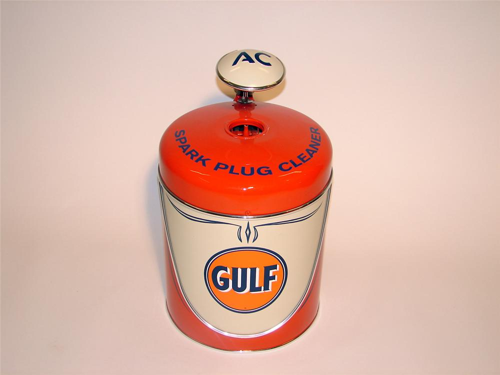 Neat 1940s AC Spark Plugs restored Gulf station spark plug cleaner. - Front 3/4 - 50428