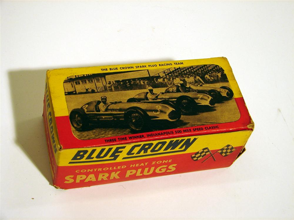 Sharp 1940s Blue Crown Spark Plug N.O.S. counter-display box with Grand Prix graphics. - Front 3/4 - 50558