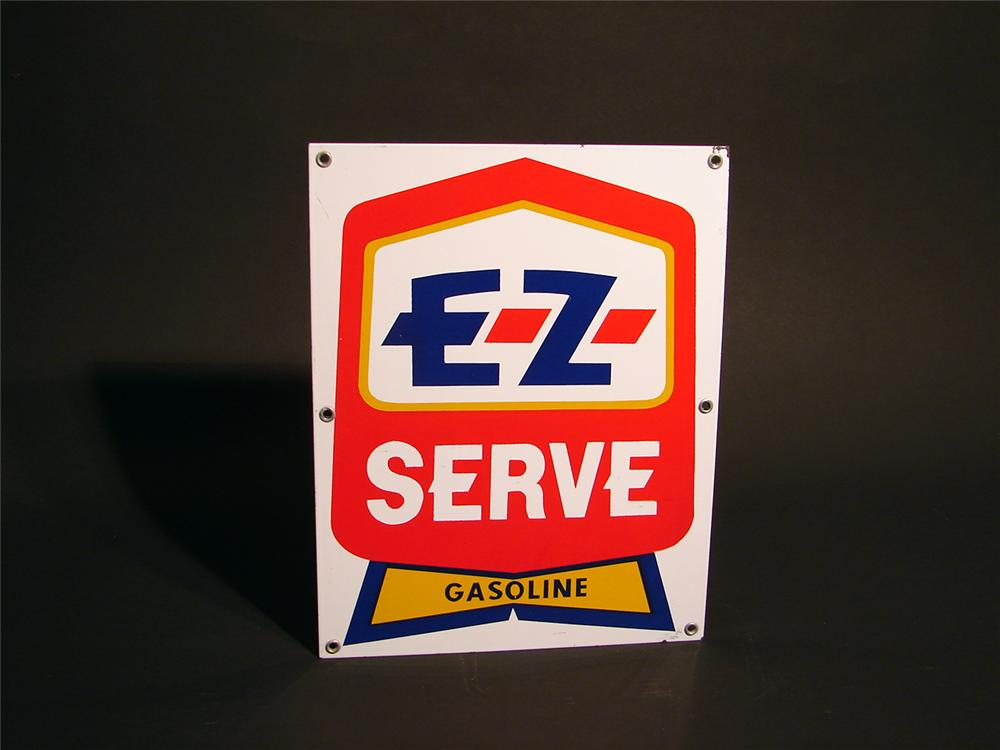 N.O.S. EZ Serve Gasoline porcelain pump plate sign. - Front 3/4 - 50562