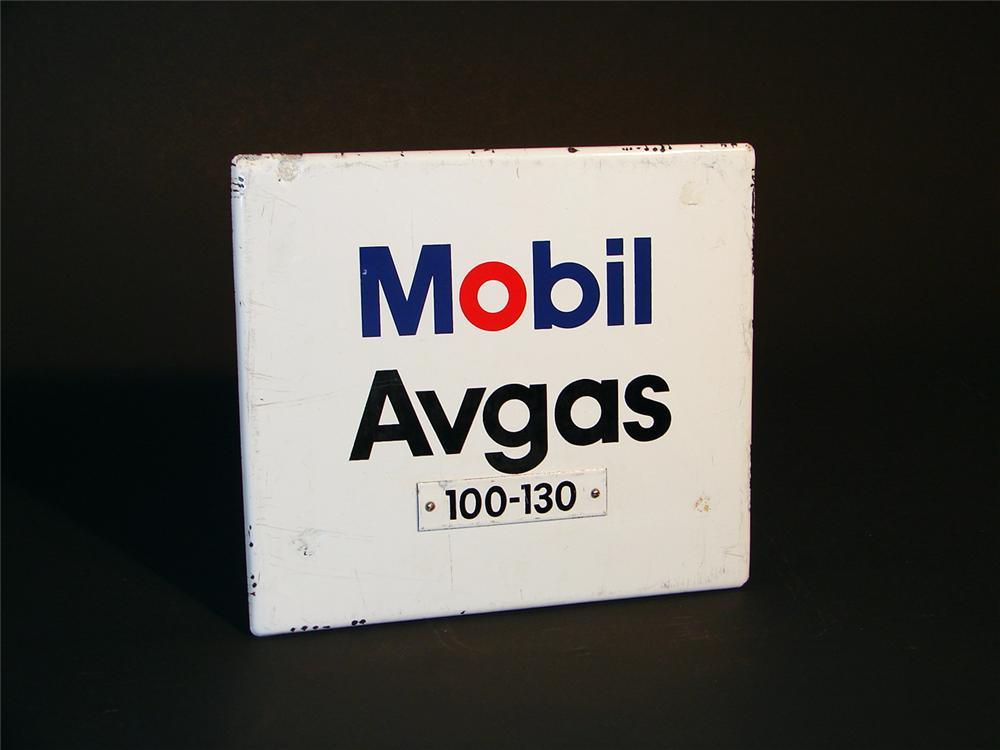 "1960s Mobil Avgas ""Aviation Gasoline"" 100-130 airfield porcelain pump plate sign. - Front 3/4 - 50564"