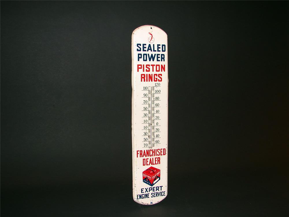 Incredible 1940s Sealed Power Piston Rings over-sized tin garage thermometer. - Front 3/4 - 50565