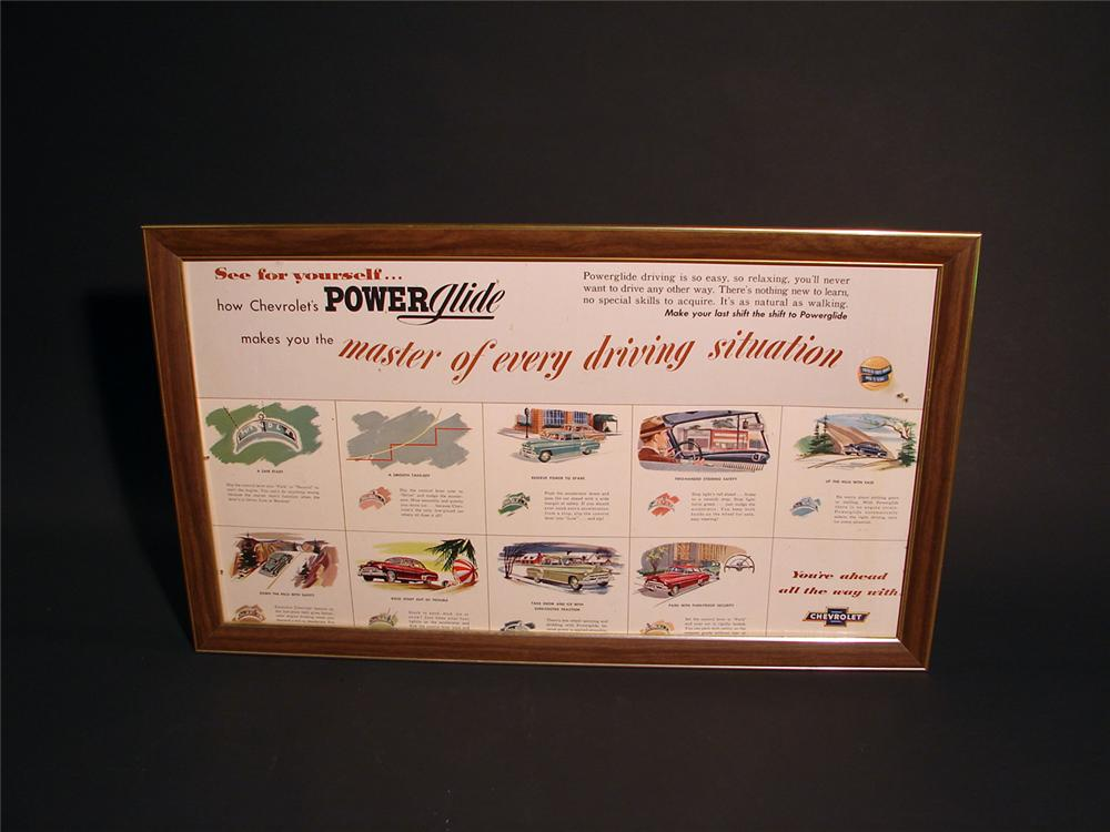Interesting 1952 Chevy Power Glide double-sided cardboard showroom sign in original metal frame. - Front 3/4 - 50570