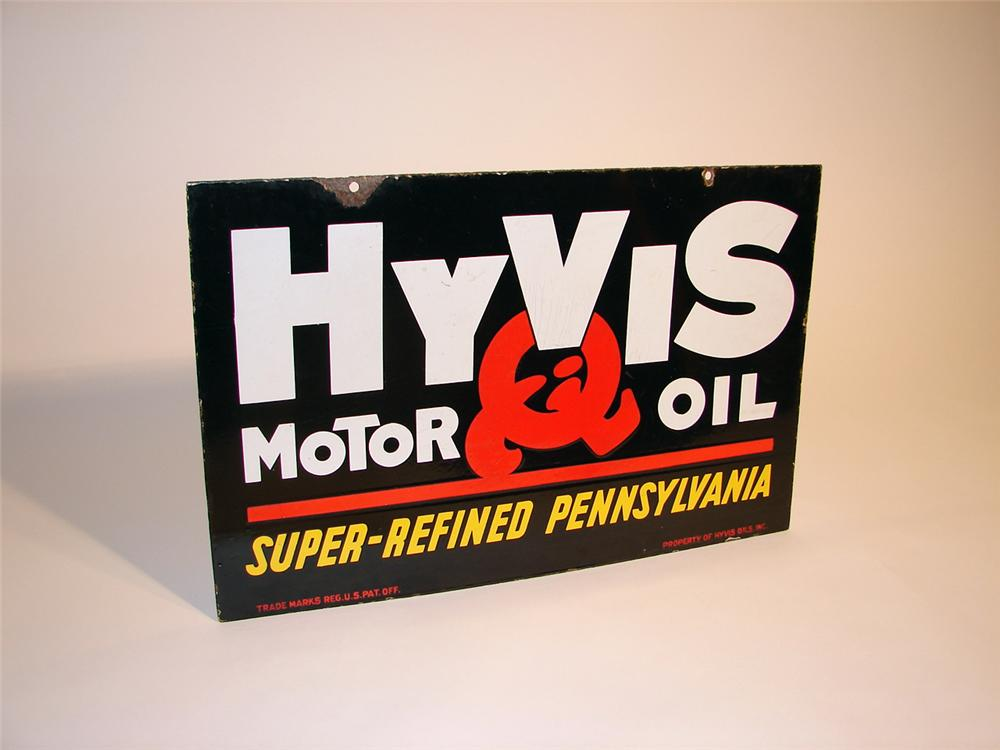 1930s Hyvis Motor Oil double-sided porcelain station sign. - Front 3/4 - 50573