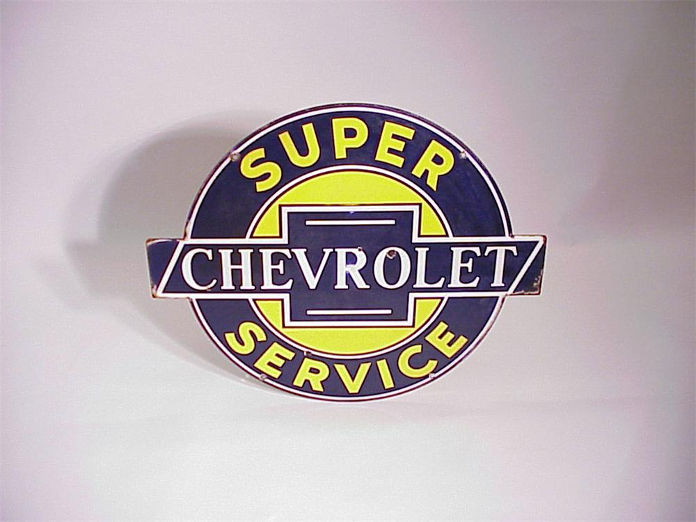 1940s Super Chevrolet Service double-sided porcelain dealership sign. - Front 3/4 - 50576
