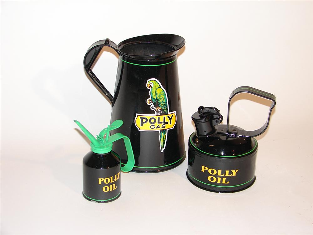 Set of three period station oil and gas cans restored in Polly regalia. - Front 3/4 - 50581