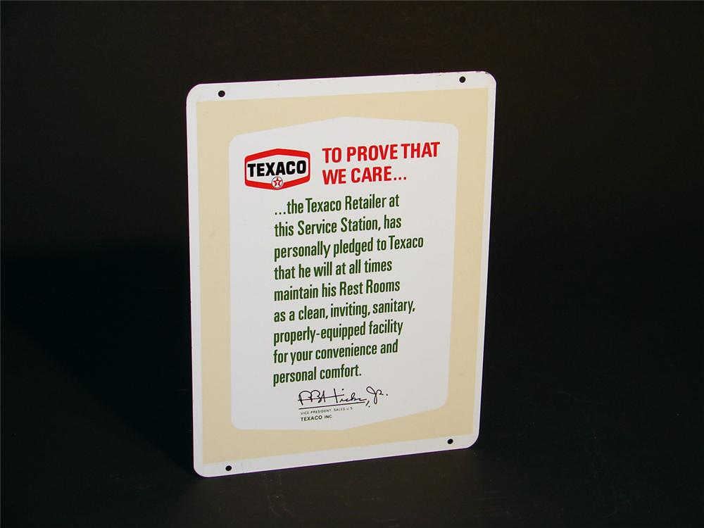 N.O.S. 1950s Texaco Station Rest Room pledge double-sided tin station sign. - Front 3/4 - 50639