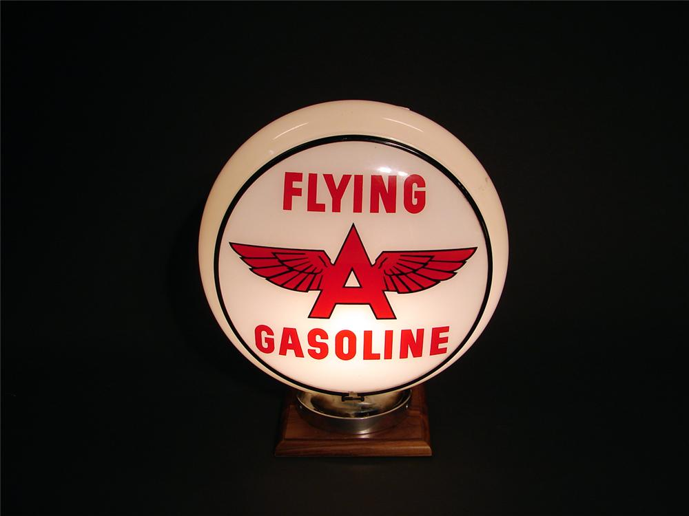 Extraordinary 1940s Flying A Gasoline gill-bodied gas pump globe. - Front 3/4 - 50648