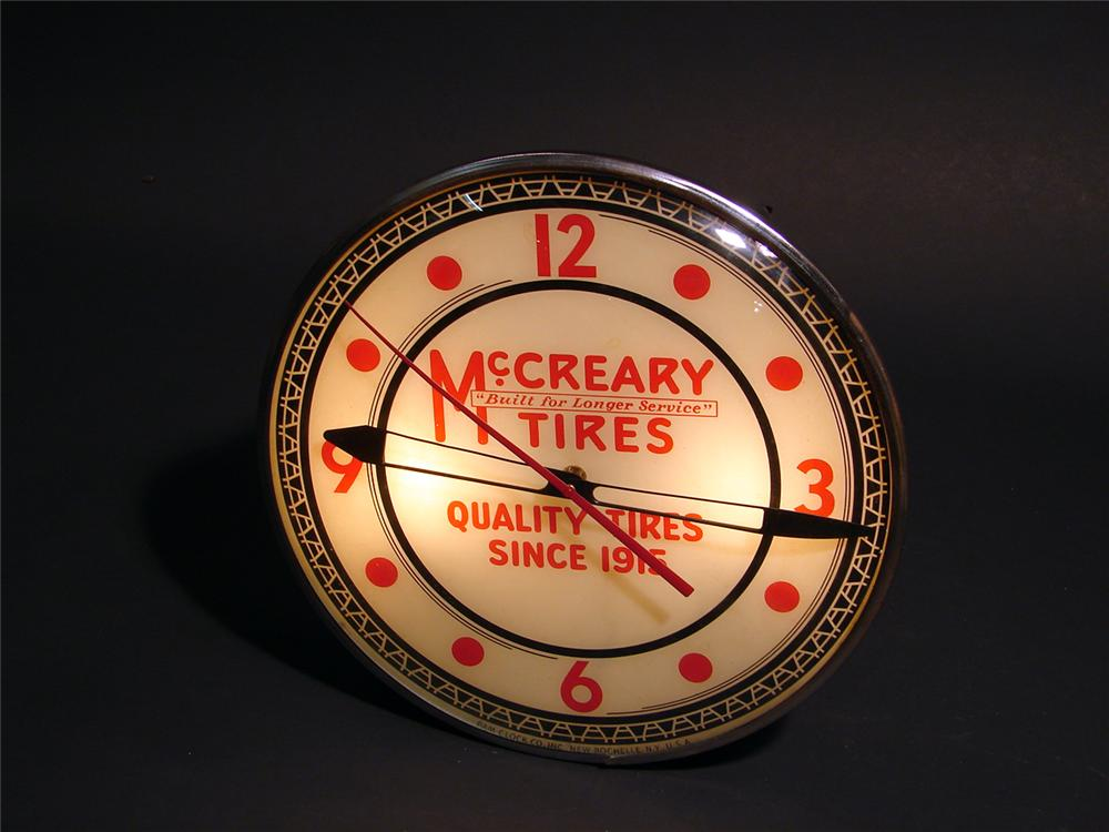 Unparalleled McCreary Tires light-up station clock. - Front 3/4 - 50650